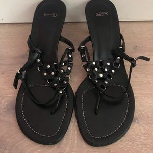 coach leather black silver studded strappy heels